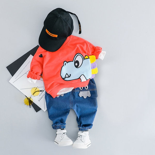 Happy Dinosaur T shirt + Pants Outfit - Cotton Castles Luxury  Diaper Cakes
