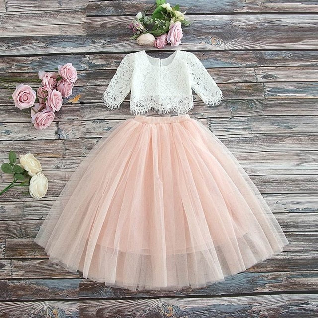 Lace Top+Champagne Pink Long Skirt - Cotton Castles Luxury  Diaper Cakes