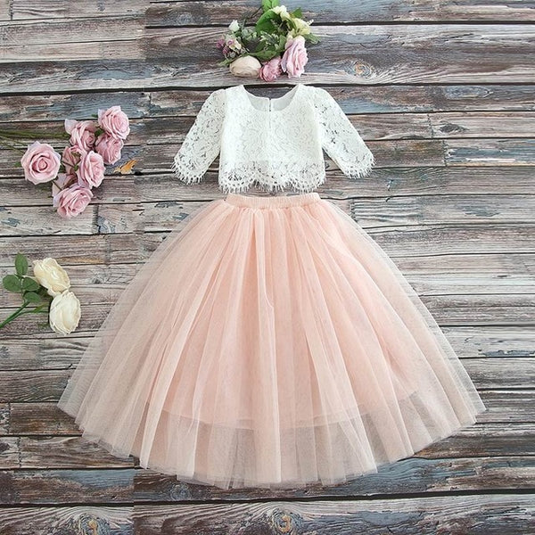 Lace Top+Champagne Pink Long Skirt