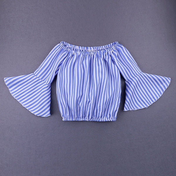 Off Shoulder Blue Striped Tops+Denim - Cotton Castles Luxury  Diaper Cakes