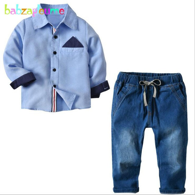 Boys Spring  Cotton T-shirt+Jeans - Cotton Castles Luxury  Diaper Cakes