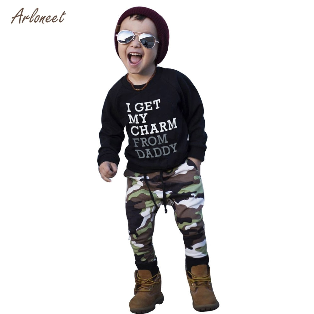 Long Sleeve Top And Camouflage Pants - Cotton Castles Luxury  Diaper Cakes
