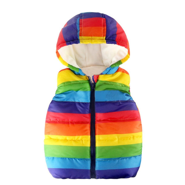 Sleeveless Striped Rainbow Hooded Warm Waistcoat - Cotton Castles Luxury  Diaper Cakes