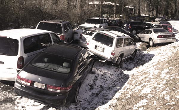 abandoned cars after natural disaster