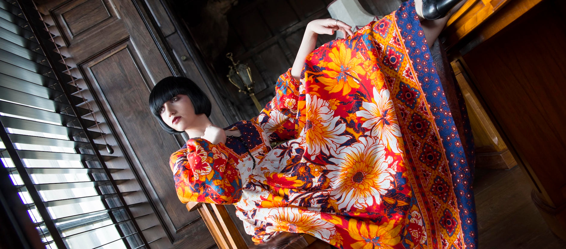 Astrid Shapiro wearing a vintage 1970's Hawaiian dress
