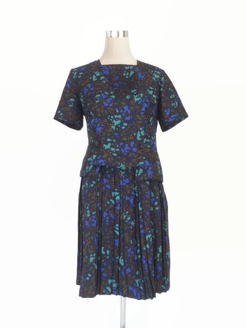 1950's Blue Print Dress - hurdyburdy vintage