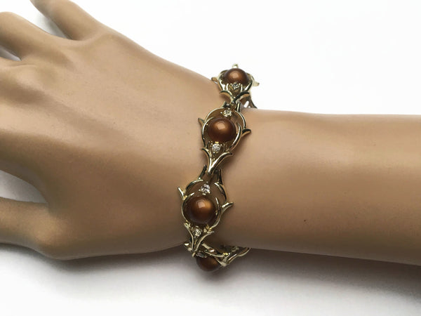 1950's Brown jelly cabochon Bracelet by Coro at hurdyburdy vintage
