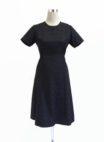 Black 1960's A-Line Fit and Flare Dress at hurdyburdy vintage