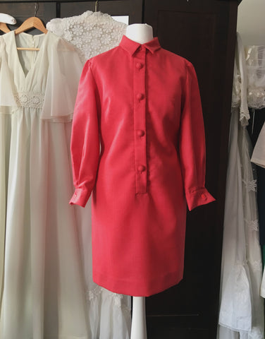 Vintage 1960's soft red wool mini dress  at hurdyburdy vintage