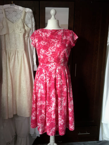 1950s st michael marspun red floral dress at hurdyburdy vintage