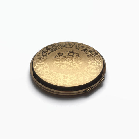 Mirrored Gold Stratton Powder Compact - hurdyburdy vintage