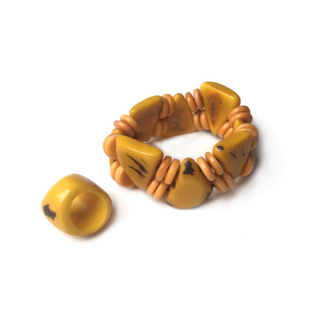 vintage butterscotch bakelite bracelet and ring