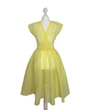 1950's sheer lemon nylon prom dress at hurdyburdy vintage