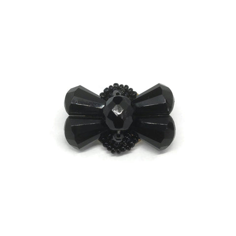 Vintage Jet Black Bow Brooch at hurdyburdy online shop