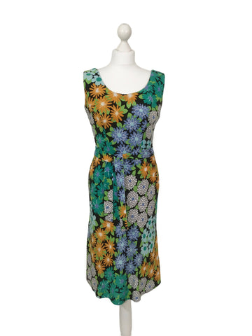 1970's Floral Print Sleeveless Dress - hurdyburdy vintage