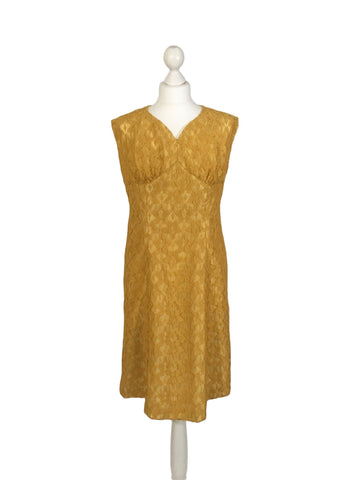 1950's Mustard Lace Dress - hurdyburdy vintage
