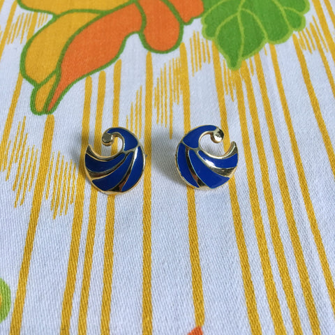 Vintage 80's blue enamel earrings.