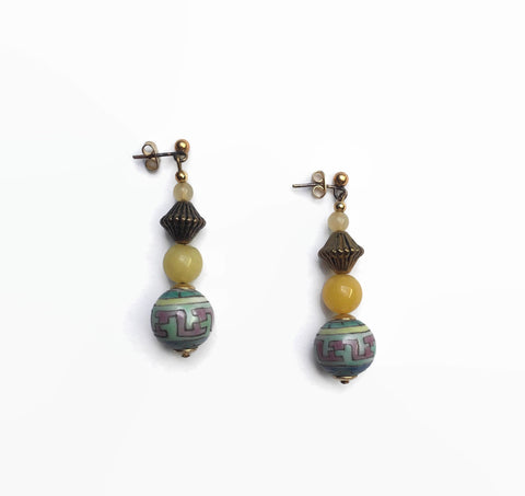 80's Retro Earrings With Semi Precious Jasper - hurdyburdy vintage