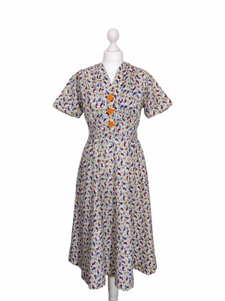 1940's Pristine Paisley Cotton Dress - hurdyburdy vintage