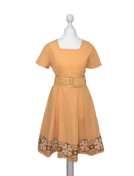 1960's Dress with Cross Stitch Border - hurdyburdy vintage