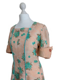 1940's Style Peach & Aqua Day Dress - hurdyburdy vintage