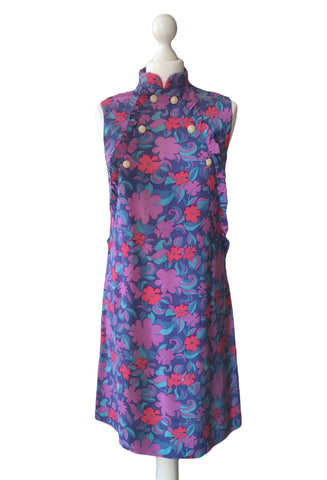 60's Purple Floral Print Dress