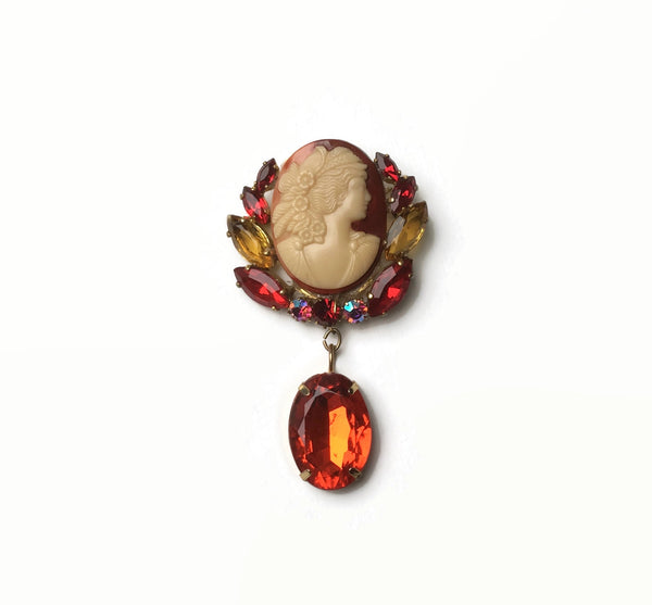 1950's Statement Cameo Brooch - hurdyburdy vintage