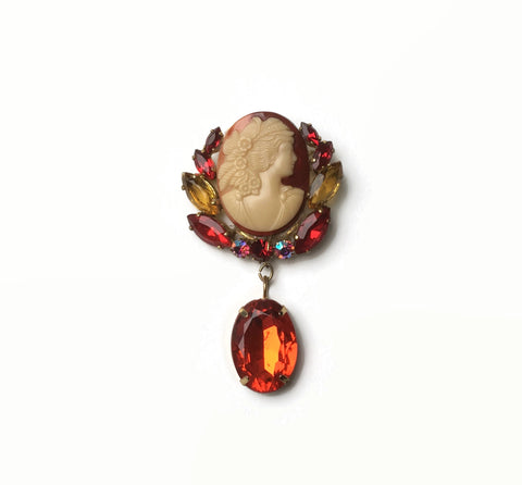 vintage celluloid cameo brooch with glass jewels and resin droplet hurdyburdy vintage