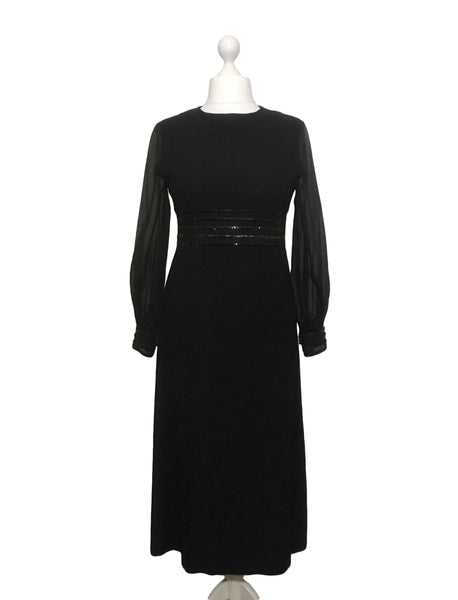 1960's Black Sequin Dress by Kati at Laura Phillips UK12/14