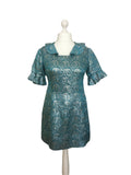 1960's Metallic Ruffle Dress - hurdyburdy vintage
