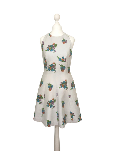 1960's Floral Pop Print Mini Dress - hurdyburdy vintage