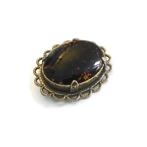 1970's Amber Glass Signed Miracle Brooch - hurdyburdy vintage