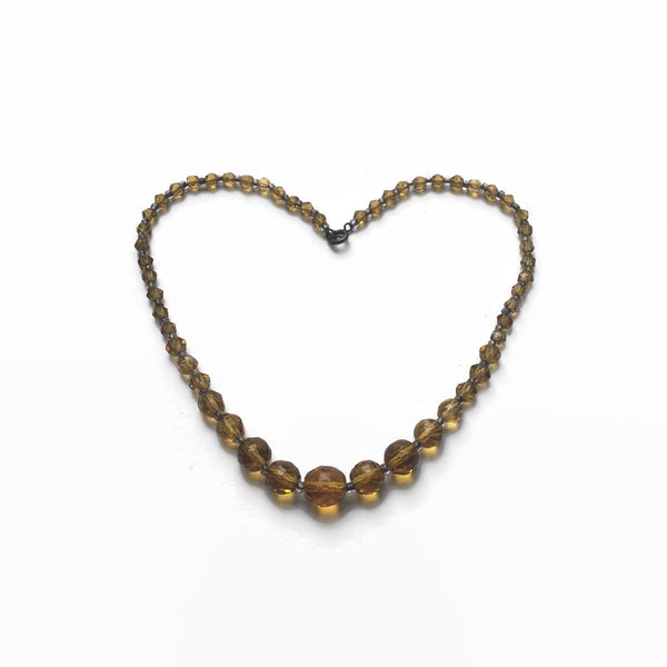 1940's Amber Glass Necklace - hurdyburdy vintage