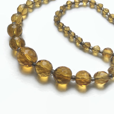 1930's Amber Faceted Glass Necklace - hurdyburdy vintage