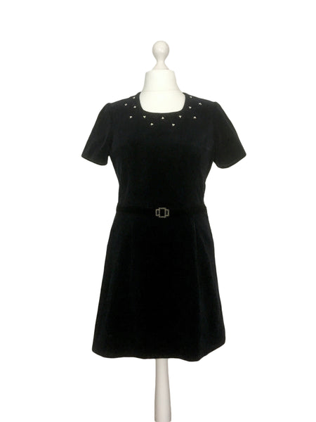 1960's Black Velvet And Pearl Dress - hurdyburdy vintage