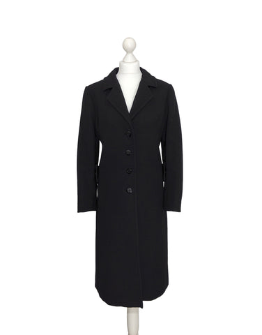 Classic Black Overcoat With Olive Satin Lining - hurdyburdy vintage