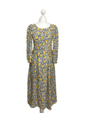 Yellow Abstract Print Midi Dress - hurdyburdy vintage