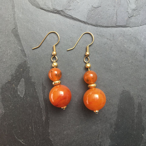 vintage faux amber and gold earrings