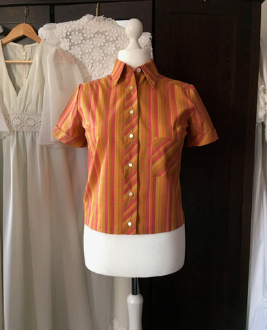 1970's Terracotta Stripe Blouse With MOP Shell Buttons at hurdyburdy vintage