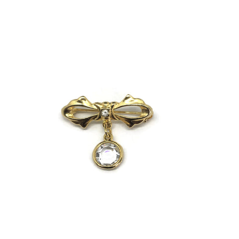 Vintage bow brooch with a sparkling crystal droplet. at hurdyburdy online vintage shop