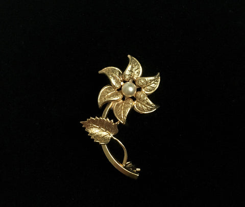 Mid Century 1960's Gold Layered Flower Brooch at hurdyburdy vintage