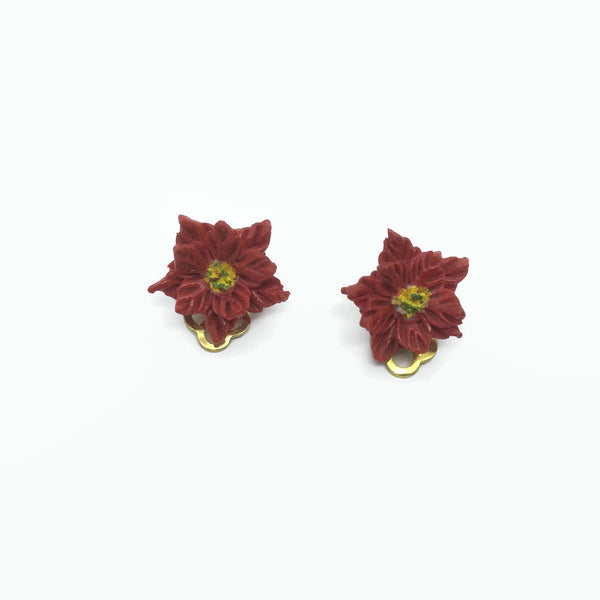 handmade Heather Cox flower clip on earrings at hurdyburdy vintage