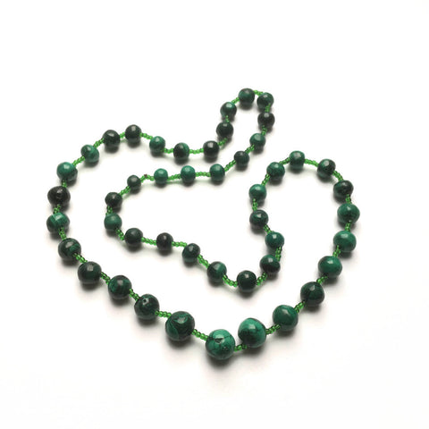 Vintage Natural Malachite Necklace at hurdyburdy vintage