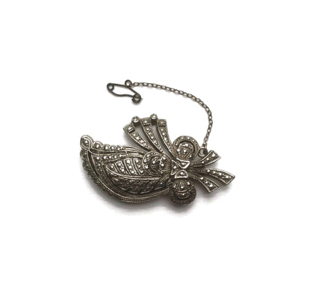 1930s floral marcasite brooch at hurdyburdy vintage