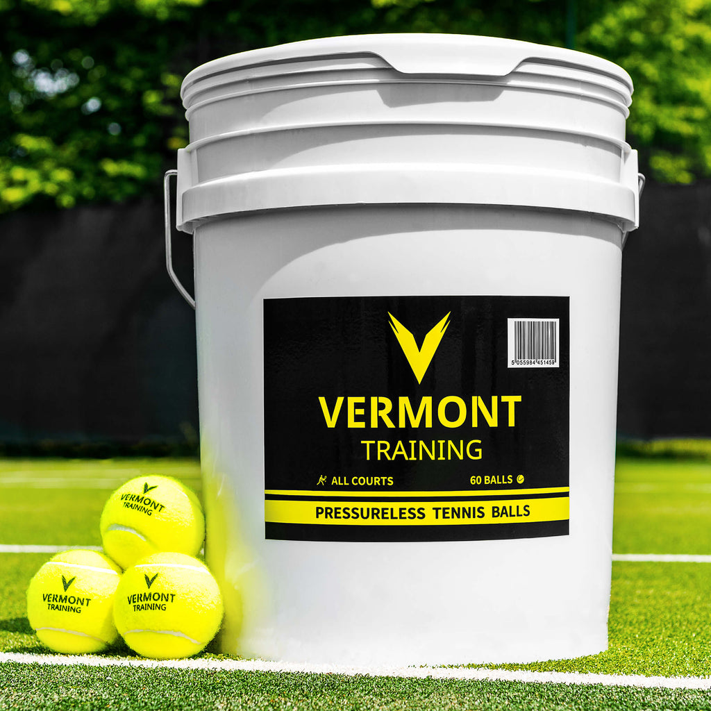 Vermont Training Pressureless Tennis Ball - Bucket of 60 Balls - Ideal for Tennis Coaches - includes Free Shipping in UK, further discounts available with MTI Membership ('POA for non UK orders')