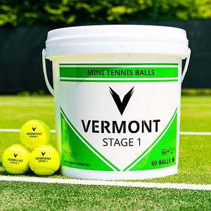 Vermont Green Mini Tennis Balls - A Bucket of 60 - includes Free Shipping further discounts available with MTI Membership ('POA for non UK orders')