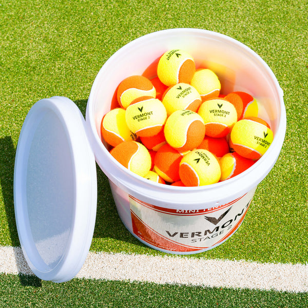 Vermont Orange Mini Tennis Balls - Bucket 0f 60 Balls - includes Free Shipping