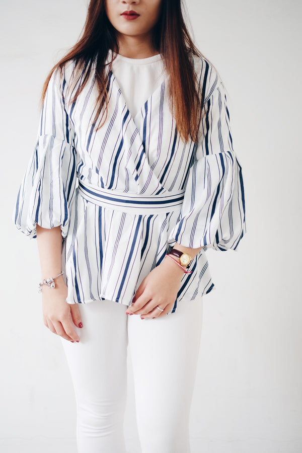 Multi Stripe Peplum Top