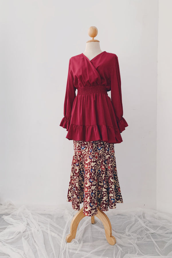 Mermaid Batik Skirt - Red Dip