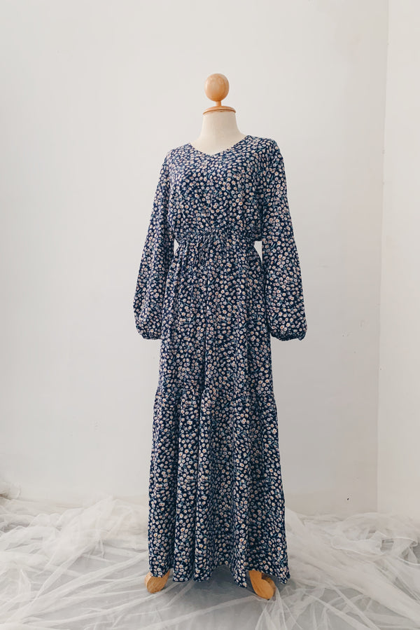 Rayon Maxi Dress - Tiny Flower